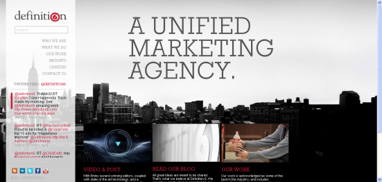 Screenshot of New Definition 6 website, the unified marketing agency Ryan Kantor interned at in the Spring of 2011